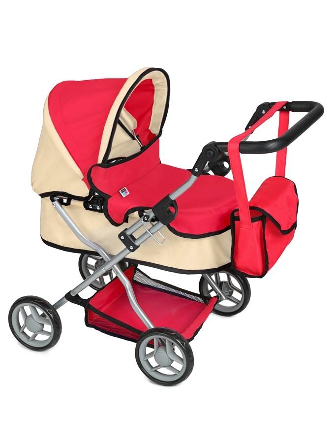 Hlboký kočík pre bábiky PlayTo Viola červený