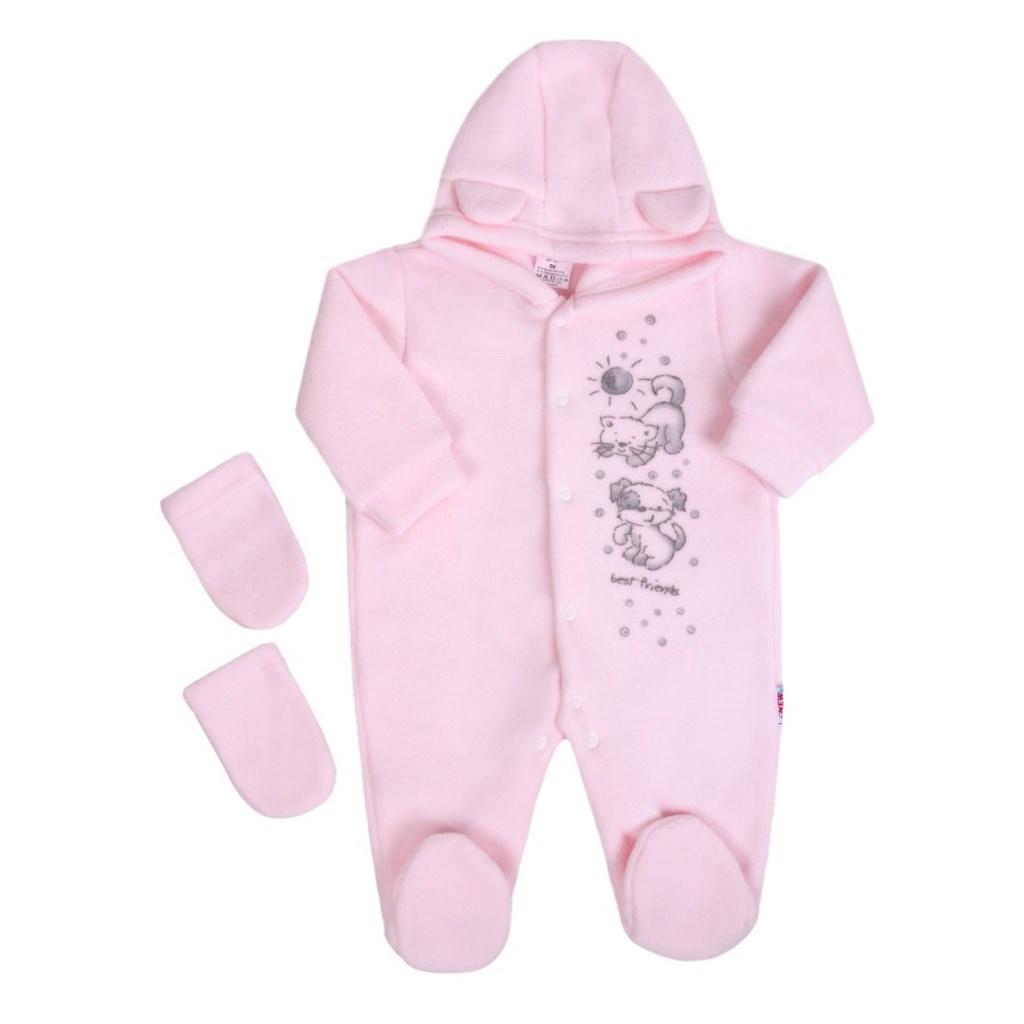 Fleecový overal New Baby Kamaráti ružový