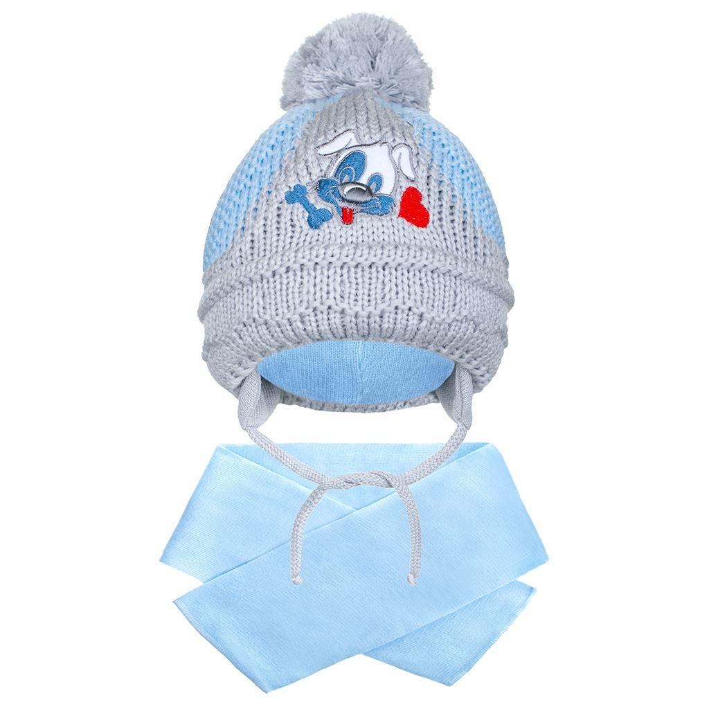 Zimná detská čiapočka so šálom New Baby psík tmavo modrá
