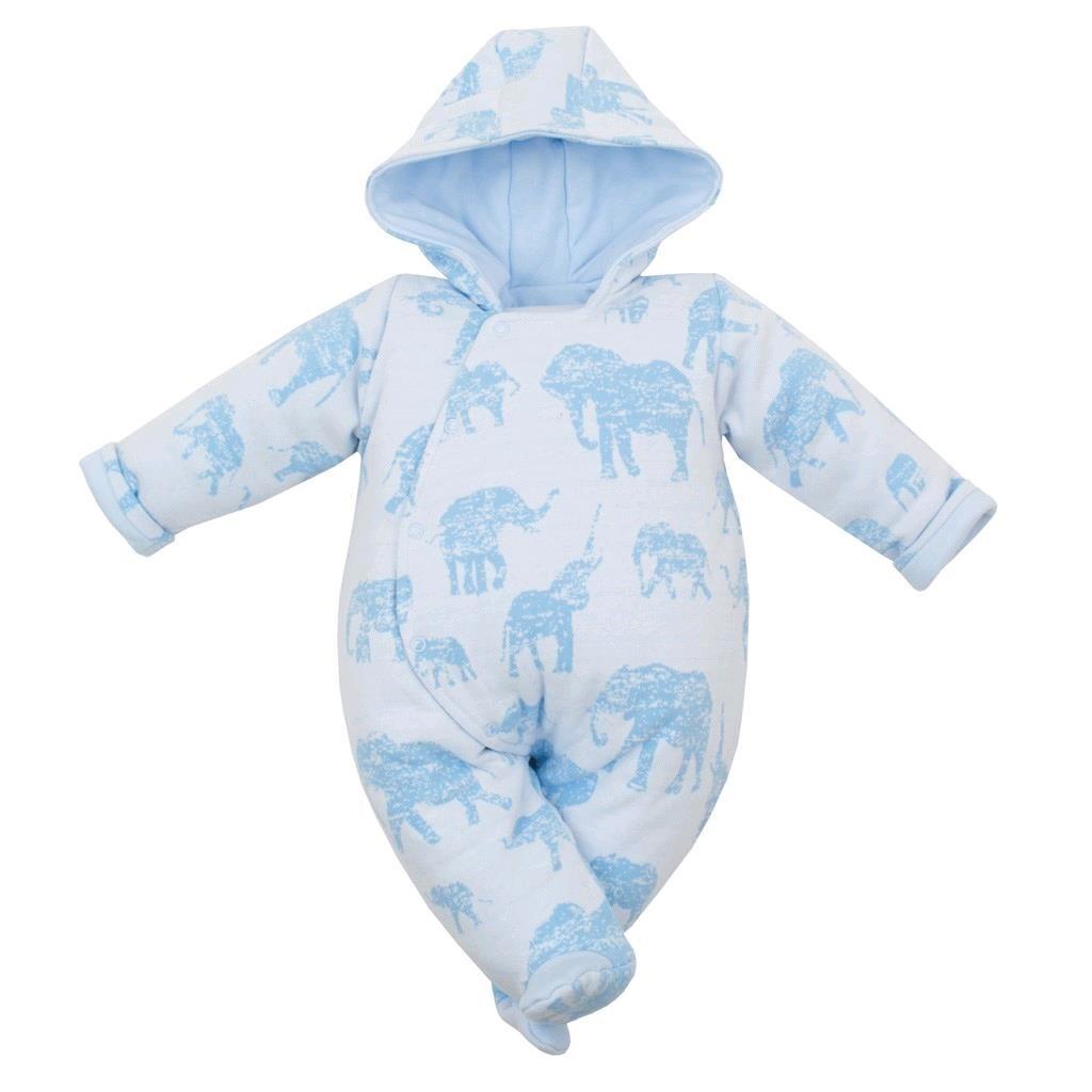 Zateplená dojčenská kombinéza s kapucňou Baby Service Slony modrá