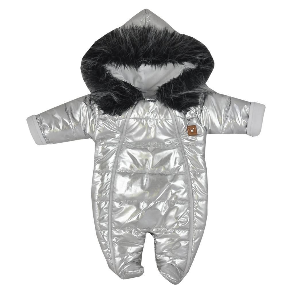 Zimná dojčenská kombinéza s kapucňou Koala Lara strieborná