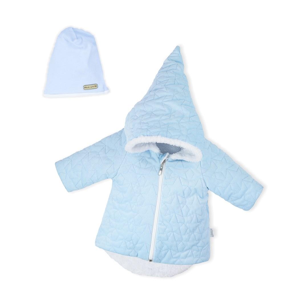 Zimný dojčenský kabátik s čiapočkou Nicol Kids Winter modrý