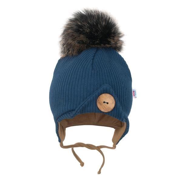 Dojčenská zimná čiapočka New Baby Great modrá
