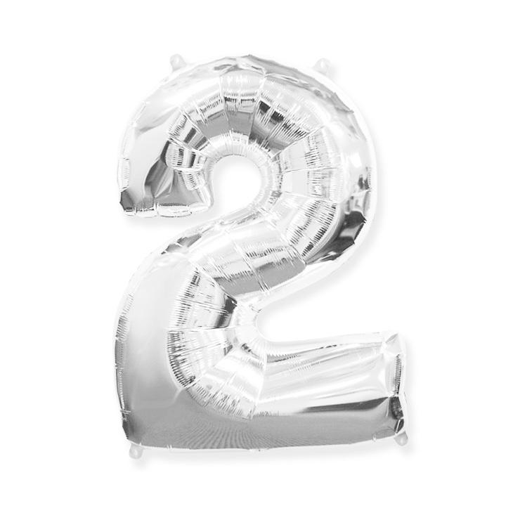 Strieborná fóliová číslica 2