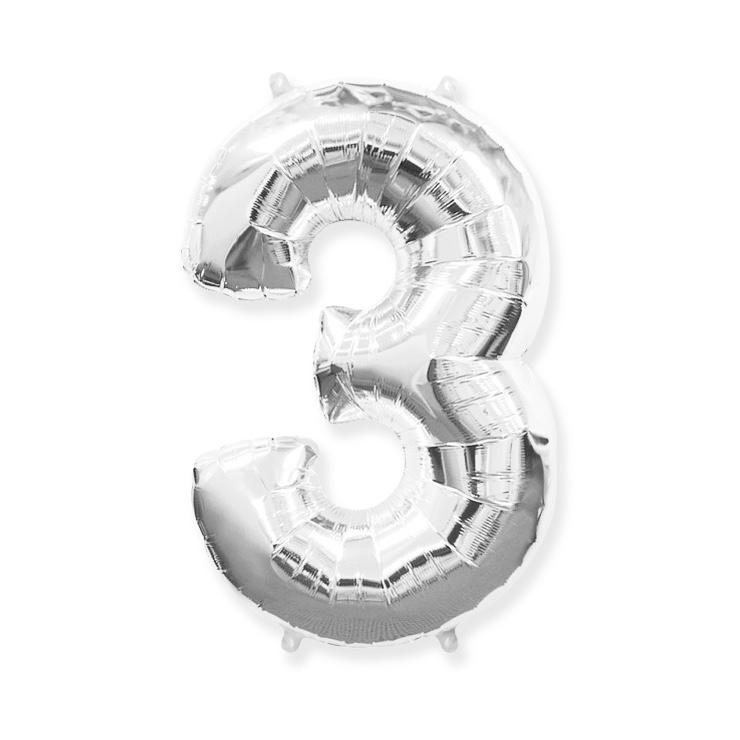 Strieborná fóliová číslica 3