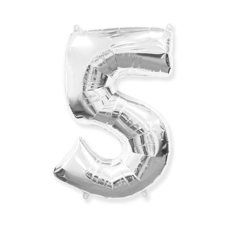 Strieborná fóliová číslica 5