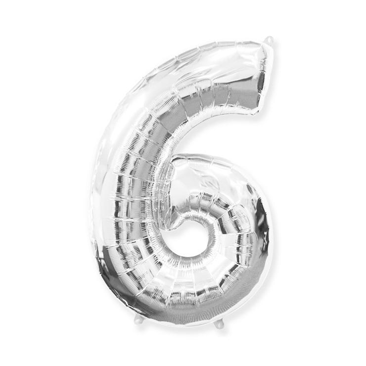 Strieborná fóliová číslica 6