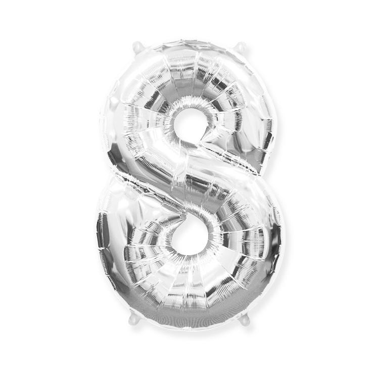 Strieborná fóliová číslica 8